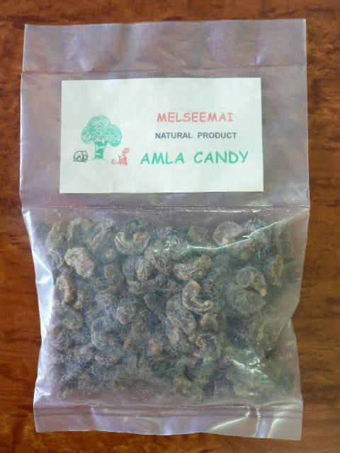 <b>AMALAKI CANDY- WHOLE FRUIT</b><br>KEY - Emblica Officinalis<BR>AMLA / NELLIKAI CANDY IN PIECES<BR>ORGANIC AND WILD<br>100 grs